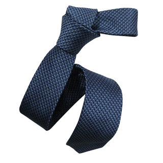 Dmitry Men's Blue Italian Silk Patterned Skinny Tie