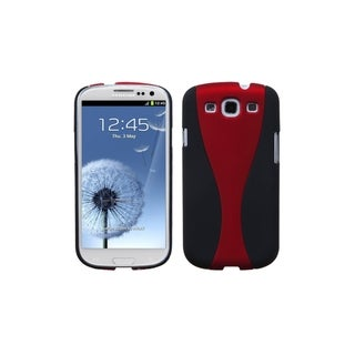 MYBAT Red/ Black Wave Cup Cover Rubberized Case for Samsung� Galaxy S3