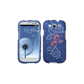 MYBAT Pink Flower Blue Bling Skin Cover Case for Samsung� Galaxy S3