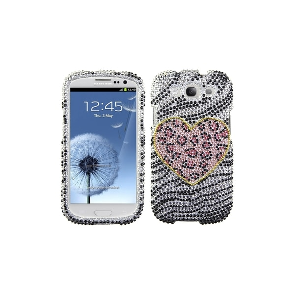 MYBAT Leopard Heart Black White Bling Cover for Samsung© Galaxy S3