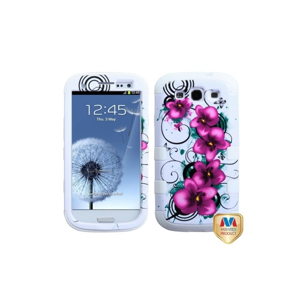 INSTEN Morning Petunias White TUFF Hybrid Phone Case Cover for Samsung Galaxy S3