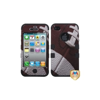 INSTEN Football/ Black TUFF Hybrid Phone Case Cover for Apple iPhone 4
