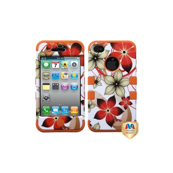 INSTEN Hibiscus Flower/ Orange TUFF Hybrid Phone Case Cover for Apple iPhone 4/ 4S