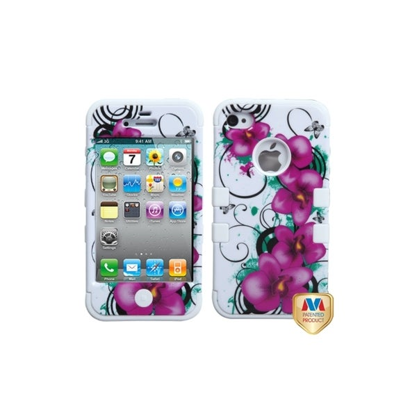 INSTEN Morning Petunias/ White TUFF Hybrid Phone Case Cover for Apple iPhone 4
