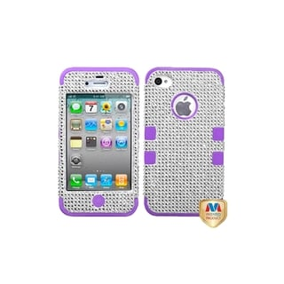 MYBAT Silver Diamond/ Purple TUFF Hybrid Case for Apple� iPhone 4/ 4S