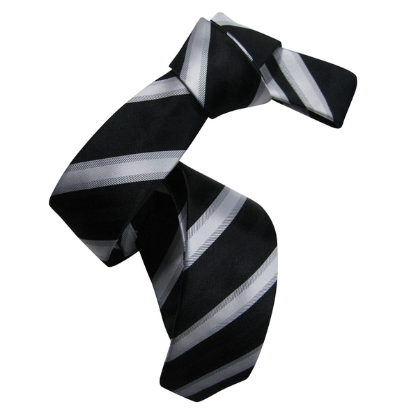 Dmitry Men's Black Italian Silk Patterned Skinny Tie
