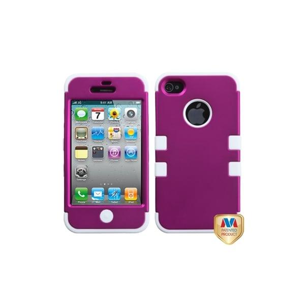 INSTEN Titanium Pink/ White TUFF Case Cover for Apple iPhone 4/ 4S