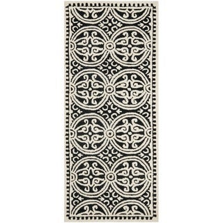 Safavieh Handmade Cambridge Moroccan Black Oriental Pattern Wool Rug (2'6