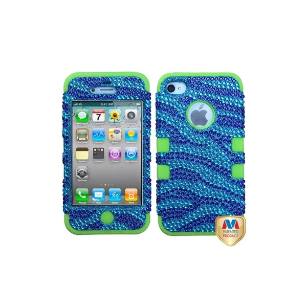 MYBAT Zebra Blue/ Diamond/Green TUFF Hybrid Case for Apple® iPhone 4