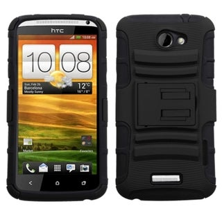 INSTEN Black Advanced Armor Stand Protector Phone Case Cover for HTC One X+