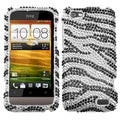 MYBAT Black Zebra Skin Diamante Protector Case Cover for HTC One V