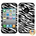 MYBAT Zebra Skin/Black TUFF Hybrid Case Cover for Apple iPhone 4/ 4S