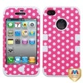 MYBAT Dots/ White TUFF Hybrid Phone Case Cover for Apple iPhone 4/ 4S