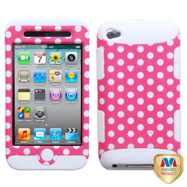 INSTEN Dots Pink/ white/ White TUFF Hybrid iPod Case Cover for Apple iPod touch 4