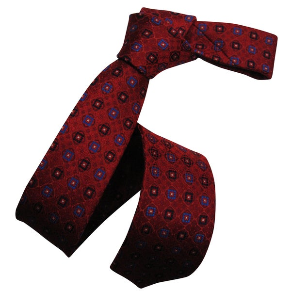 Dmitry Men's Red Italian Silk Patterned Skinny Tie