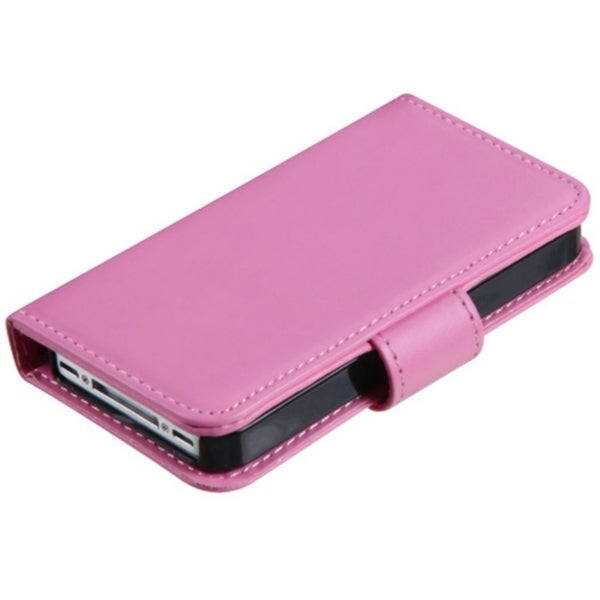INSTEN Pink Book-Style MyJacket Wallet with Tray for Apple iPhone 4