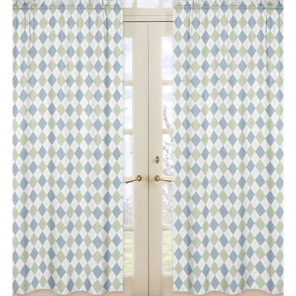 Blue and Green Argyle 84-inch Curtain Panel Pair