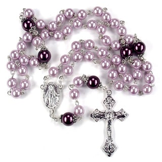 Silverplated Rose and Plum Glass Pearl Rosary