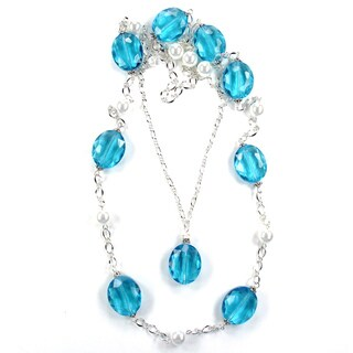 Silverplated Aqua Crystal and White Glass Pearl Wedding Jewelry Set