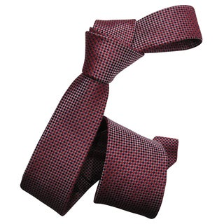 Dmitry Men's Red Italian Silk Square-Patterned Skinny Tie