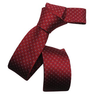 Dmitry Men's Red Italian Silk Dot-Patterned Skinny Tie