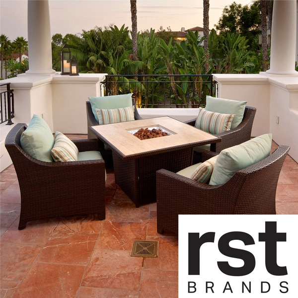 Bliss 5-Piece Fire Table Seating Set Patio Furniture by RST