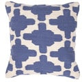 Contemporary Cotton Blue/ Ivory Square Pillows ( Set of 2 )