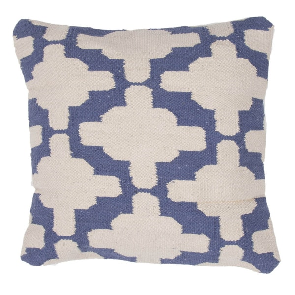 Contemporary Cotton Ivory/ Blue Square Pillows ( Set of 2 )