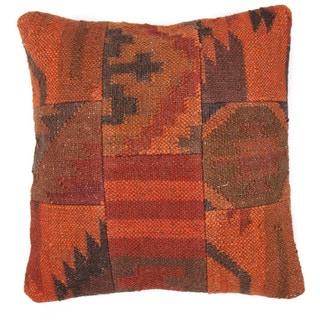 Traditional Wool/ Jute Red/ Orange Square Pillows (Set of 2)