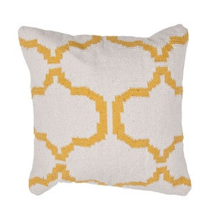 Contemporary Cotton Ivory/ Yellow Square Pillows ( Set of 2 )