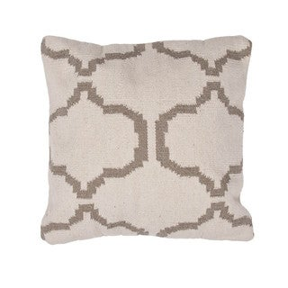 Contemporary Cotton Ivory/ Brown Square Pillows ( Set of 2 )