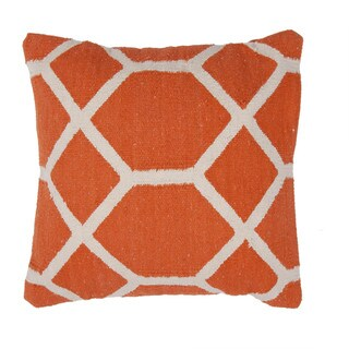 Contemporary Cotton Red/ Orange Square Pillows (Set of 2)