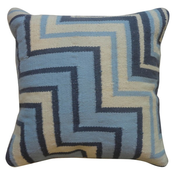 Contemporary Cotton Blue/ Yellow Square Pillows (Set of 2)
