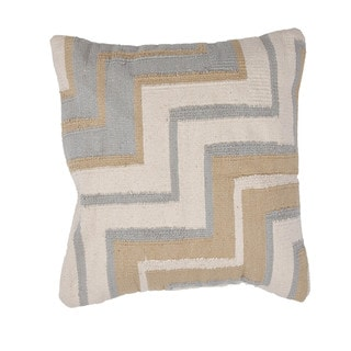 Contemporary Cotton Brown/ Blue Square Pillows (Set of 2)