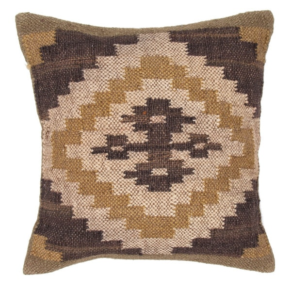 Traditional Wool/ Jute Beige/ Brown Square Pillows (Set of 2)