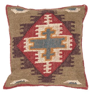 Traditional Wool/ Jute Multi-color Square Pillows (Set of 2)