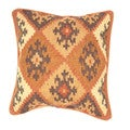 Traditional Wool/ Jute Brown/ Red Square Pillows (Set of 2)