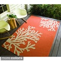 Hand-hooked Indoor/ Outdoor Abstract Rug (5' x 7'6)
