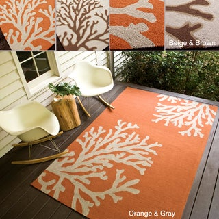 Hand-hooked Indoor/ Outdoor Abstract Easy-care Rug (5' x 7'6)