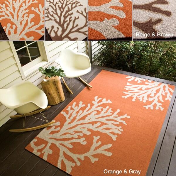 Hand-hooked Indoor/ Outdoor Abstract Rug (7'6 x 9'6)