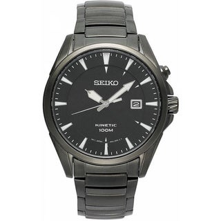 SEIKO Men's Kinetic Black Ion Dial Stainless Steel Watch