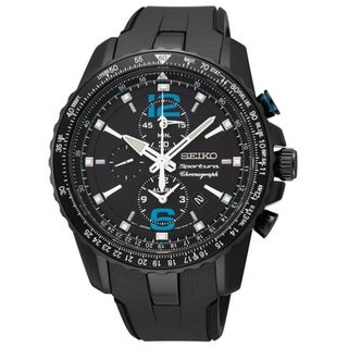 SEIKO Men's Sportura Chronograph Black Dial Blue Accent Watch