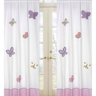 Pink and Purple Butterfly 84-inch Curtain Panel Pair