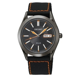 Seiko Men's SNE237 Solar Black Dial Orange Accent Nylon Strap Watch