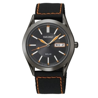 SEIKO Men's Solar Black Dial Orange Accent Nylon Strap Watch