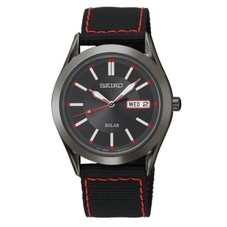 SEIKO Men's Solar Black Dial Red Accent Nylon Strap Watch