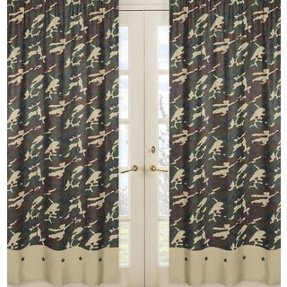 Sweet Jojo Designs Green, Brown, Black and Camel 84-inch Window Treatment Curtain Panel Pair for Military Camoflauge Collection