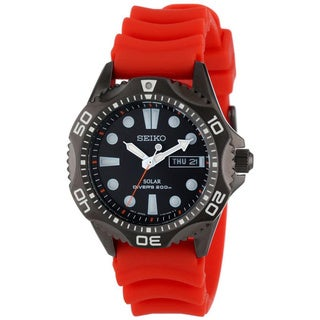 SEIKO Men's Solar Black Dial Orange Strap Diver's Watch