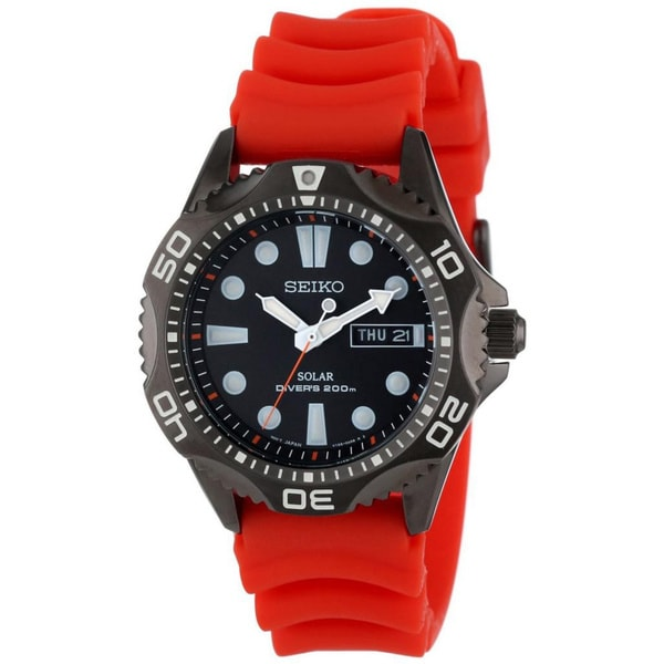 Seiko Men's SNE245 Solar Black Dial Orange Strap Divers Watch