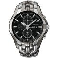 SEIKO Men's Solar Chronograph Black Ion Two-Tone Watch